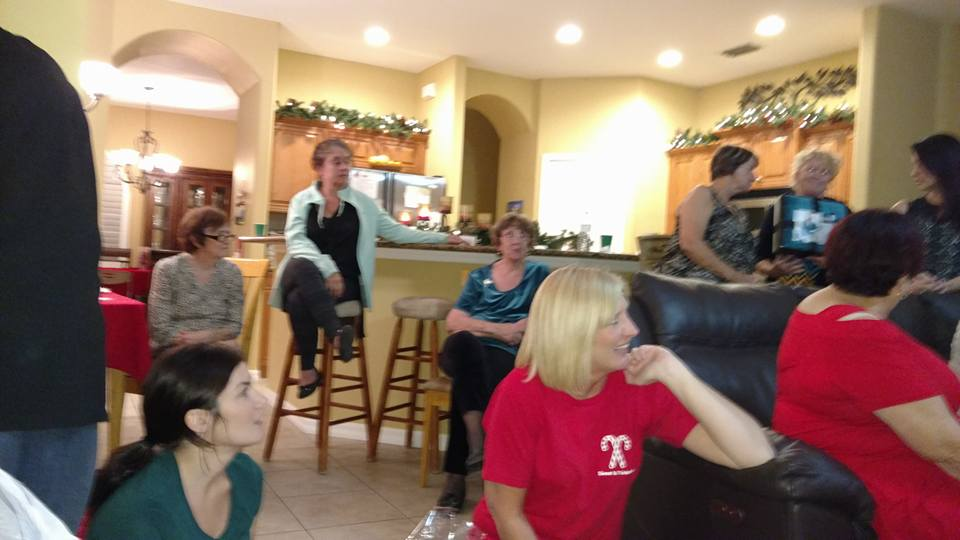 Ladies gathered around living room.